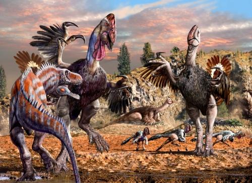 Gigantoraptor - Alectrosaurus by Luis Rey
